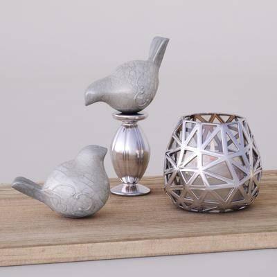 蜡烛台, 不锈钢, 小鸟, 木板, 工艺品, 现代