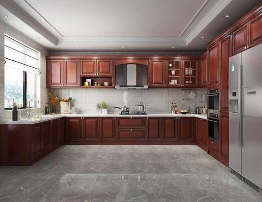 美式, 厨房, 橱柜, 冰箱, 厨具
