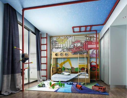 儿童房, 卧室, 上下床, 玩具, 现代
