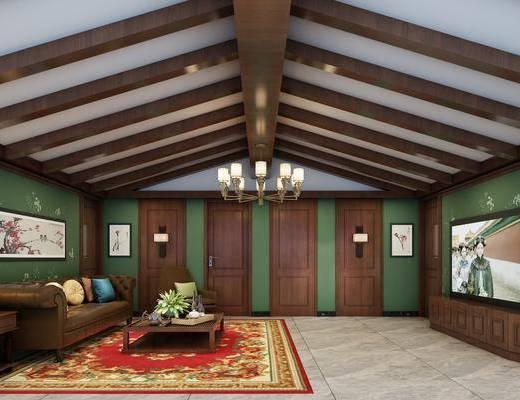 影音室, 多人沙发, 茶几, 装饰画, 挂画, 边几, 台灯, 壁灯, 吊灯, 新中式