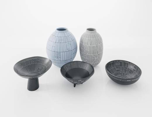 装饰品, 摆件组合, 器皿, 陶瓷