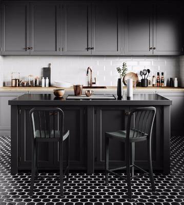 现代厨房, 厨房, 吧台