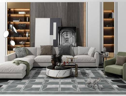 沙发组合, 茶几, 摆件, 背景墙