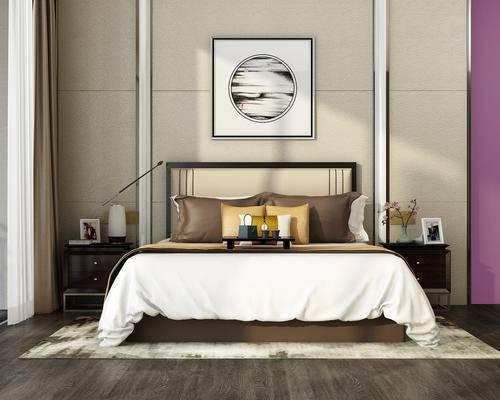 中式, 床具, 床头柜, 陈设品, 装饰画, 新中式