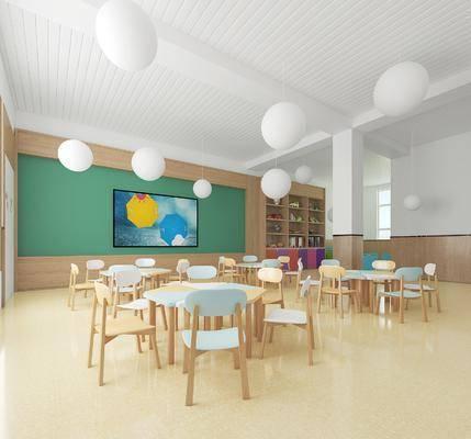 幼儿园, 桌子, 单人椅, 吊灯, 装饰画, 挂画, 墙饰, 装饰柜, 书柜, 书籍, 装饰品, 陈设品, 现代