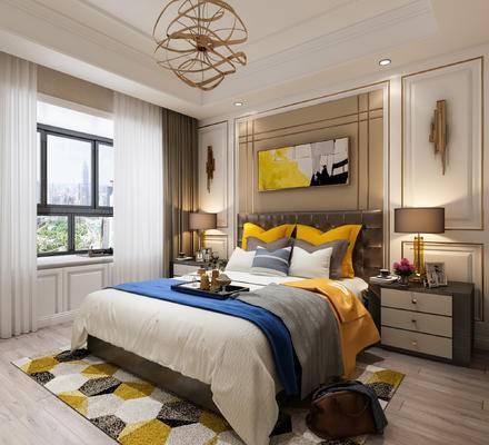 单人床, 床头柜, 吊灯, 挂画, 壁灯, 台灯
