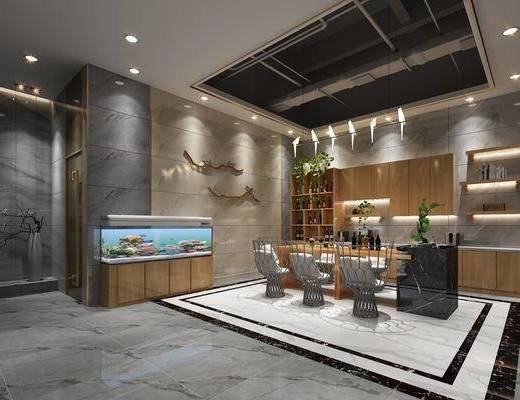 新中式, 办公室, 台球桌, 茶桌, 椅子, 办公椅