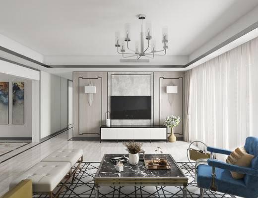 法式客厅, 茶几, 电视柜, 壁灯, 椅子, 吊灯