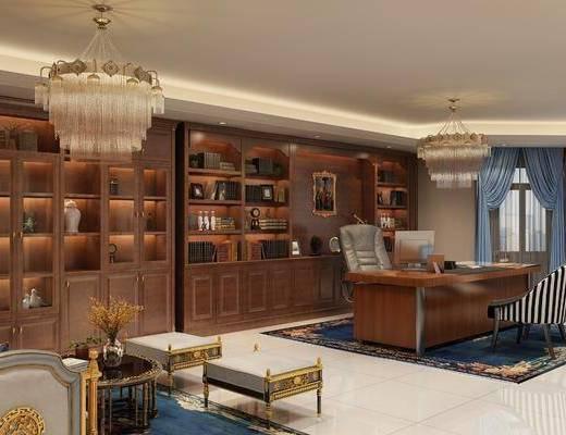 办公室, 办公桌, 办公椅, 单人椅, 吊灯, 茶几, 凳子, 单人沙发, 书柜, 装饰柜, 书籍, 电脑, 摆件, 装饰品, 陈设品, 水晶灯, 文件柜, 欧式