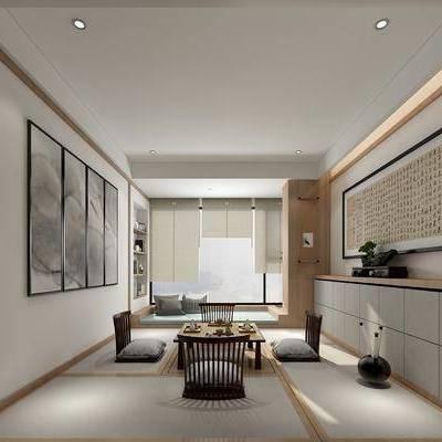 茶几, 单人沙发, 摆件, 装饰柜, 装饰画, 挂画, 新中式