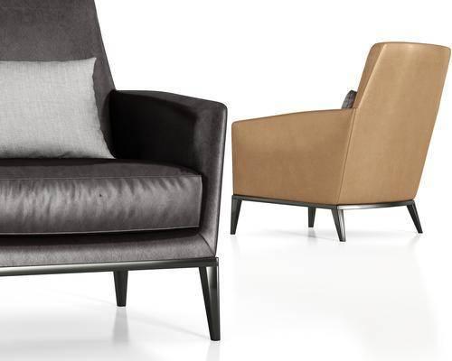 现代皮革单人沙发组合