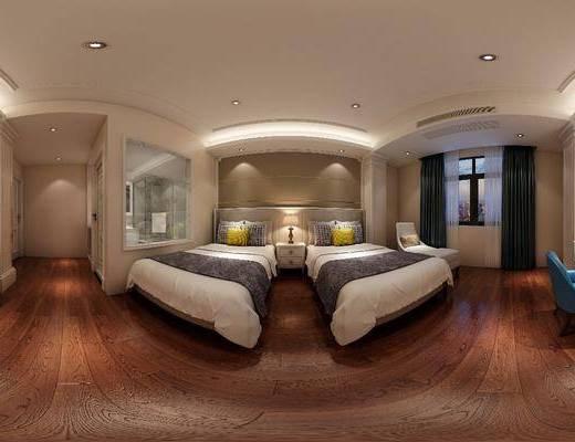 现代客房, 酒店客房, 床, 床头柜, 双人床, 椅子, 桌子, 台灯