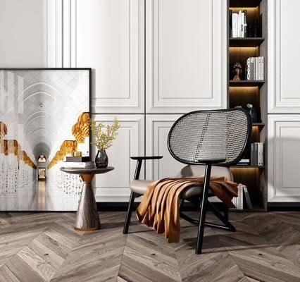 单椅, 茶几, 装饰画, 摆件组合