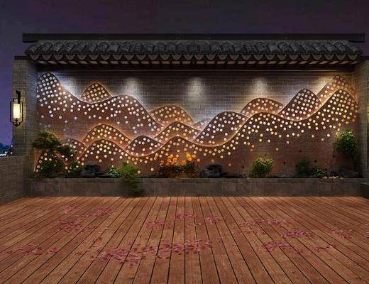 景观墙, 壁灯, 植物, 景观小品