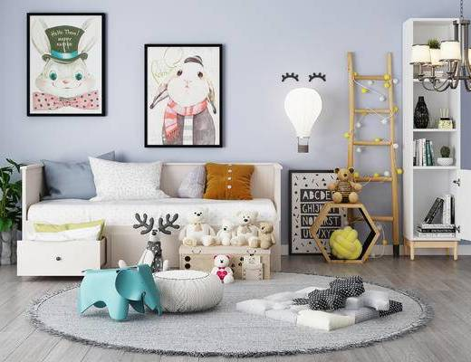 儿童房, 地毯, 装饰画, 柜子, 沙发床