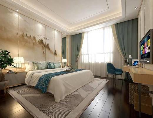酒店客房, 双人床, 床头柜, 台灯, 书桌, 单人椅, 盆栽, 摆件, 装饰品, 陈设品, 新中式