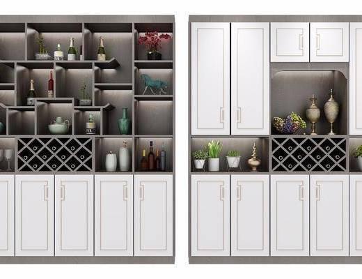 酒柜组合, 装饰柜, 酒瓶, 新中式