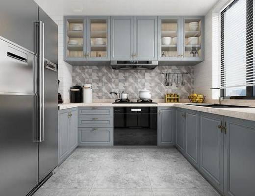 厨房, 橱柜, 厨具, 冰箱, 洗手台, 简欧