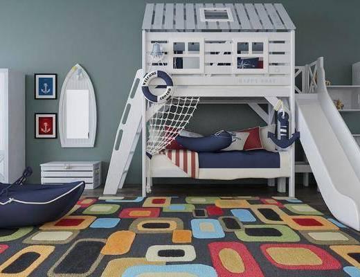 床具组合, 上下床, 衣柜, 装饰镜, 书柜, 现代
