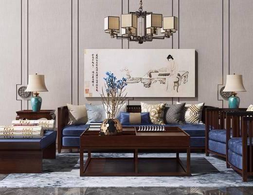 新中式沙发, 中式沙发, 新中式吊灯, 新中式台灯, 摆件组合