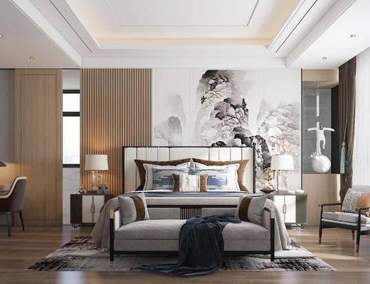 雙人床, 床具組合, 背景墻, 單椅, 床頭柜