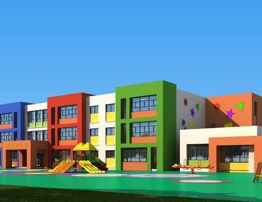 户外幼儿园, 学校, 幼稚园建筑, 门面门头, 现代