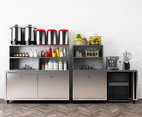 奶茶店设备, 奶茶桶, 榨汁机, 水果, 奶茶店橱柜