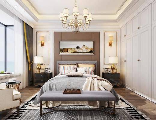 美式卧室, 卧室, 床具, 美式床, 挂画, 装饰画, 吊灯, 台灯, 床头柜, 沙发, 茶几, 床尾踏, 衣柜