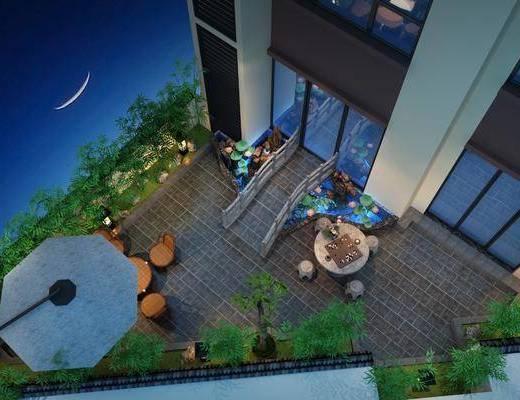 阳台花园, 绿植, 台阳伞, 假山, 凳子, 现代