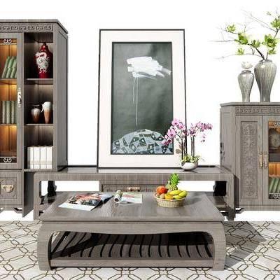 电视柜, 装饰柜, 置物柜, 装饰画, 花瓶, 陈设品, 摆件, 新中式, 中式