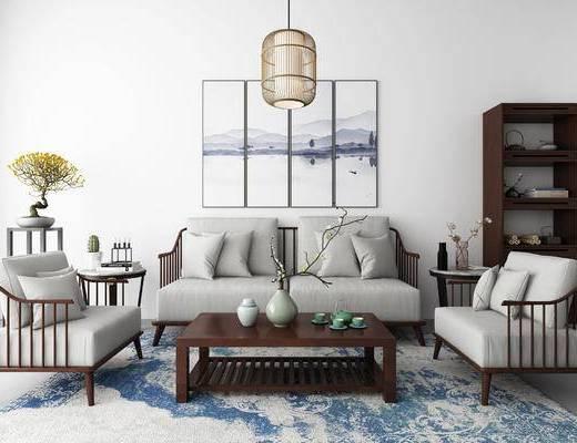 新中式, 沙发, 茶几, 摆件, 瓷器, 圆几, 花瓶, 花, 吊灯, 挂画, 书架, 置物架, 柜子, 盆栽
