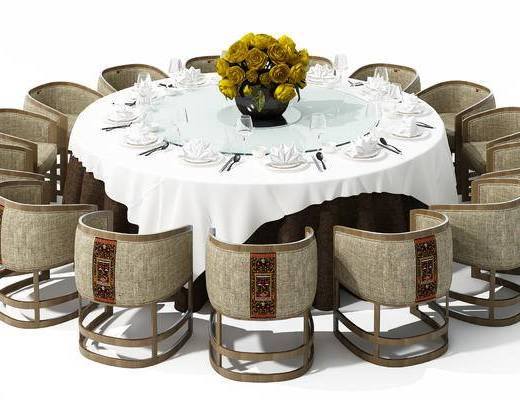 新中式, 餐桌, 椅子, 圆桌, 餐具, 花瓶, 鲜花, 摆件