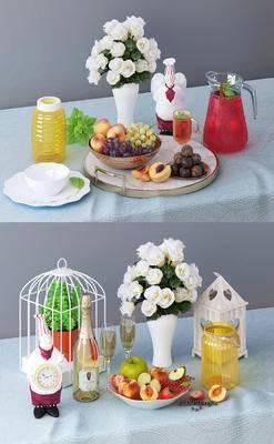 水果, 酒, 果汁, 花瓶, 装饰品