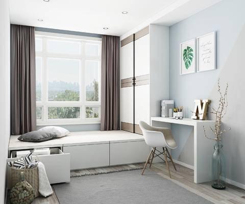 榻榻米, 榻榻米床, 榻榻米衣柜, 书桌椅, 卧室, 北欧卧室, 装饰画