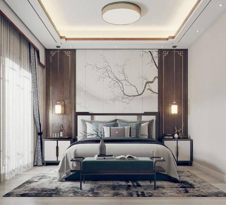 双人床, 床尾踏, 背景墙, 吊灯, 床头柜, 抱枕