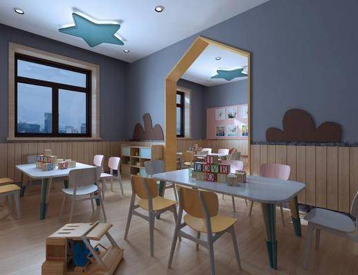 桌椅组合, 墙饰, 吊灯, 边柜, 玩具