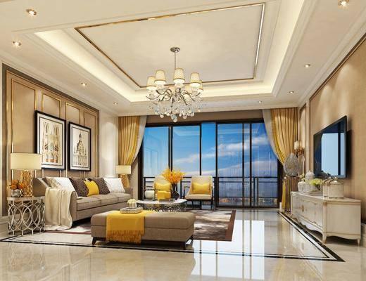 欧式客厅, 欧式吊灯, 欧式壁灯, 欧式电视柜, 布艺沙发, 装饰画