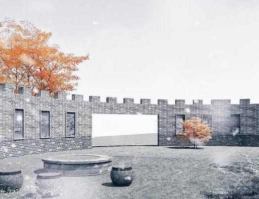 园林景观小品, 护国城墙, 景墙