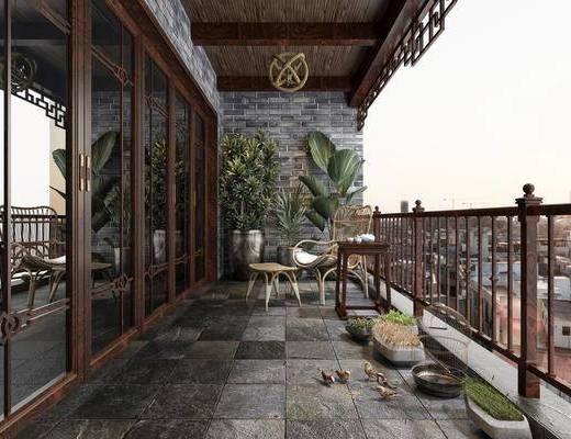 中式阳台, 休闲桌, 休闲椅, 盆栽