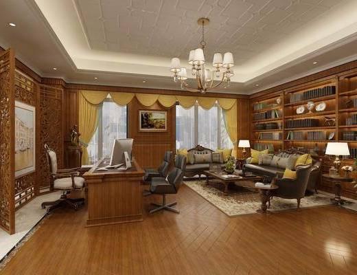 办公室, 办公桌, 办公椅, 单人椅, 吊灯, 多人沙发, 边几, 台灯, 盆栽, 绿植植物, 书柜, 书籍, 电脑桌, 屏风, 中式