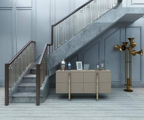 金属栏杆, 楼梯, 边柜, 楼梯扶手, 摆件组合, 现代