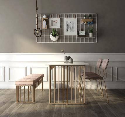 桌椅组合, 现代金属桌椅组合, 单椅