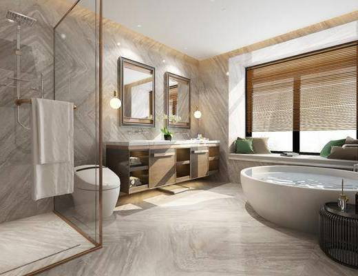 卫生间, ?#35789;?#21488;, 浴缸, 花洒, 装饰镜, 现代