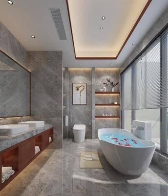 卫浴, 现代卫浴, 浴缸, 卫生间, 洗手台, 置物架, 摆件, 卫浴小件, 现代