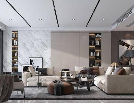 客厅, 沙发组合, 沙发茶几组合, 书柜, 书籍, 摆件组合, 装饰品, 陈设品, 现代