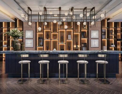 吧台, 水吧, 吧桌椅, 吧椅, 吧凳, 后现代, 现代, 吊灯, 置物柜, 装饰柜