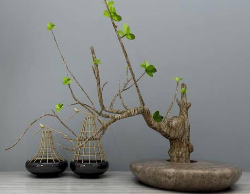 盆栽, 干树枝, 摆件组合, 新中式