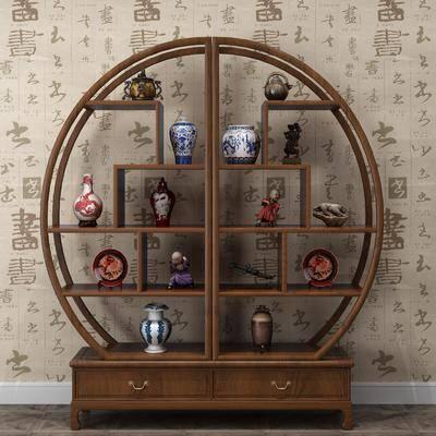 博古架, 裝飾架, 擺件組合, 裝飾品, 陳設品, 中式