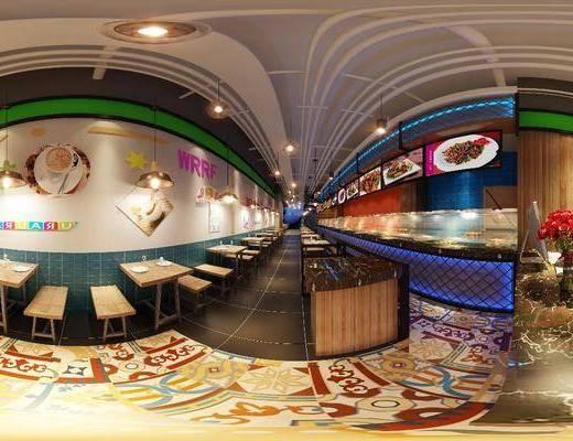 餐厅, 工装全景, 桌子, 单人椅, 前台, 吊灯组合, 工业风