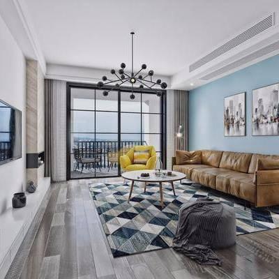客厅, 现代, 北欧, 多人沙发, 单人沙发, 休闲沙发, 装饰画, 挂画, 电视柜, 书柜